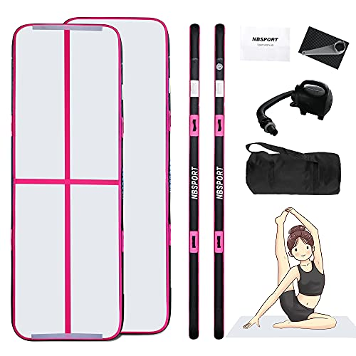 Gymnastics Air Mat, inflatable air Tumble Track Tumbling Mat Floor Mats With Electric Air Pump (10ft*3.3ft*4in(3*1*0.1), Pink)