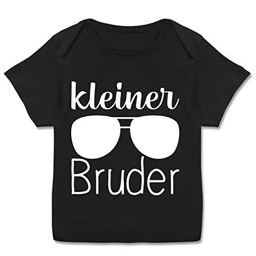 Geschwisterliebe Baby - Kleiner Bruder mit Sonnenbrille - weiß - 80-86 - Schwarz - Spruch - E110B - Kurzarm Baby-Shirt für Jungen und Mädchen