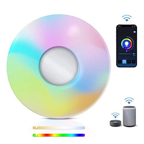 Aigostar Plafón LED inteligente Wifi, 18 W, RGB+CCT. Regulable color + luz cálida o blanca 3000 a 6500K, 1300lm. Compatible con Alexa y Google Home. Redondo 34 x 8 cm alto. Equivalente a 75 W.