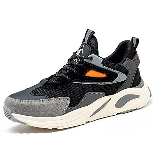 HOUJIA Zapatos de Trabajo Botas de Seguridad Zapatos de Seguridad para Hombre Sin Metal Puntera de Material Compuesto Ultraligero,Transpirables,cómodos,Zapatos de construcción,EU 36-45