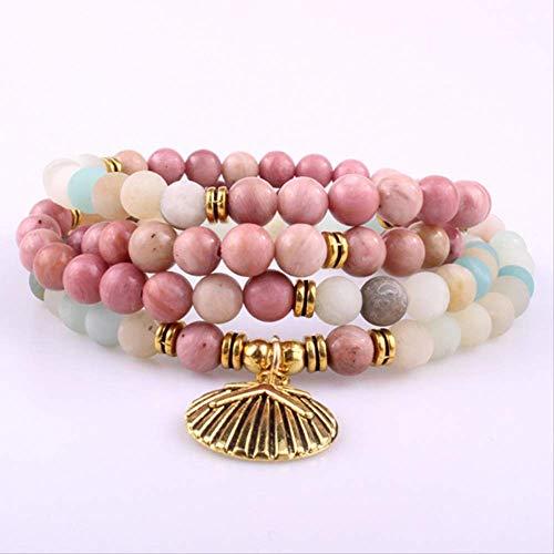 SWAOOS Budista Reiki Multicolor Amazonita Concha Charm Pulsera Piedra Natural 108 Mala Beads Pulsera Collar para Mujer