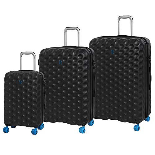 it luggage 3 Piece Set of Bubble-Spin 4 Wheel Hard Shell Single Expander Suitcases with TSA Lock Suitcase, 79 cm, 314 liters,Black
