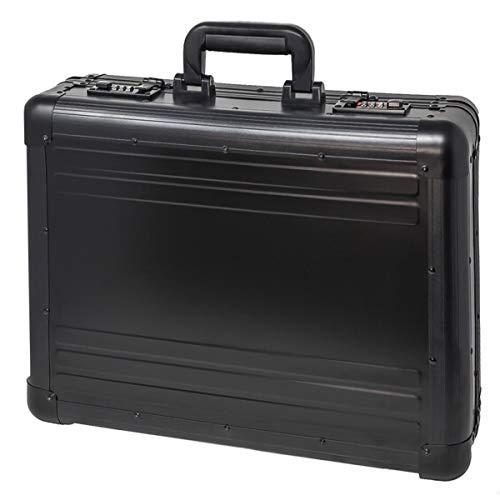 Aktenkoffer Aluminium Attachékoffer mit Zahlenschloss abschließbar XL Schwarz