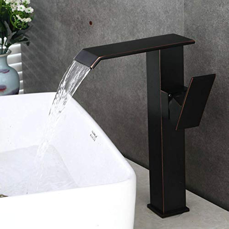 Schwarzes altes gerades gebogenes hohes schrges Waschbecken hoher Wasserfall-heies und kaltes Wasser-Badezimmer-einzelnes Loch-einzelnes Waschbecken-Hahn-Becken