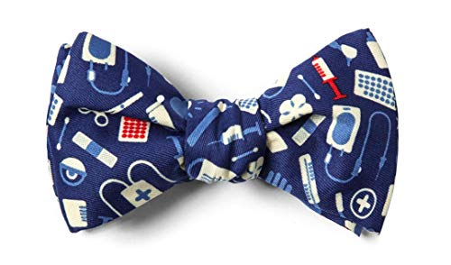 Medical Supplies Navy Blue Microfiber Butterfly Bow Tie