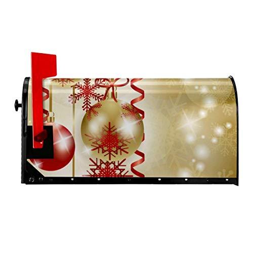 Odeletqweenry Kerstbal Sneeuwvlok Print Postbus Cover Magnetische Postbus Wraps Brievenbus Doos Cover Standaard Grootte 21 x 18 Inch Waterdichte Canvas Postbus Cover