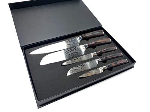 5tlg. Messer Set KOCHKNIFE© Damascus Style Küchenmesser Damastmesser Geschenk mit Holzgriff