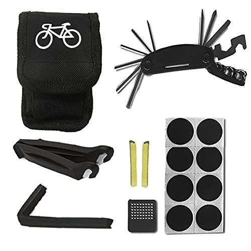 Kit de herramientas para bicicletas,kit de reparación de pinchazos,herramienta multifunción para bicicletas 16 en 1 con kit de parches para neumáticos y barras de palanca,accesorios para bicicletas de
