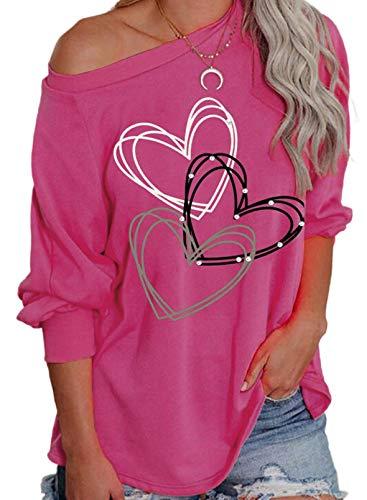 Camiseta de San Valentín para mujer, diseño de corazón, manga larga, color rosa