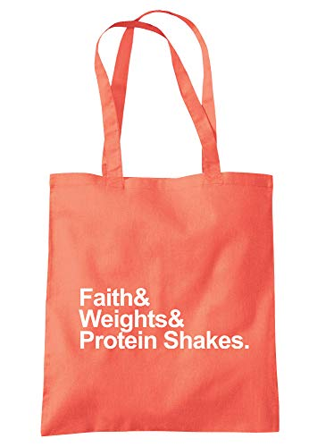 illustratedidentity Faith & Weights & Protein Shakes Tragetasche 37,5 x 42 cm mit langen Griffen, Pink - korallenrot - Größe: Einheitsgröße