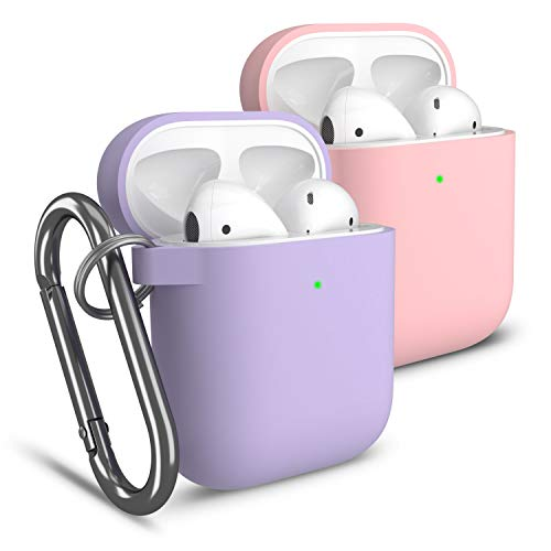 cuauco 2Pcs AirPods Case Funda Estuche Cubierta Compatible con Apple AirPod 2y1,LED Frontal Visible,con Llavero,con Kit Limpiezade 30...