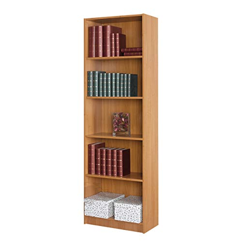 Mirjan24 Standregal Tebal mit 5 Fächer, Aktenregal, Bücherregal, Universal Regal Schranke, Büroregal, Regalsystem (Erle, 60 cm)