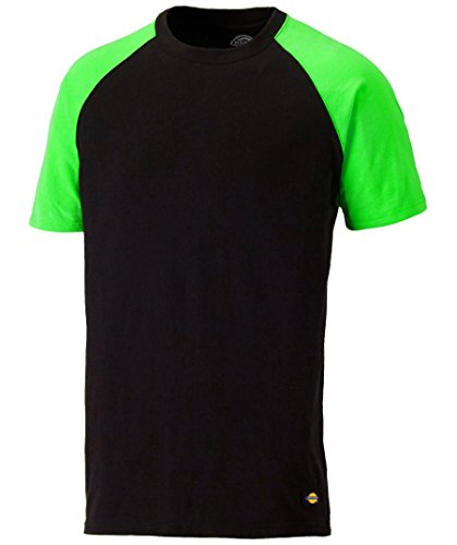 Dickies Temp Iq Two-Tone Shirt Camiseta, Black/Lime, L para Hombre