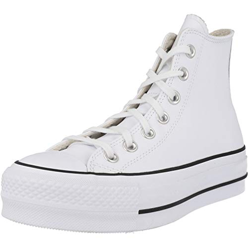 Converse Chuck Taylor All Star Lift Clean Hi Blanco/Negro Cuero 36 EU