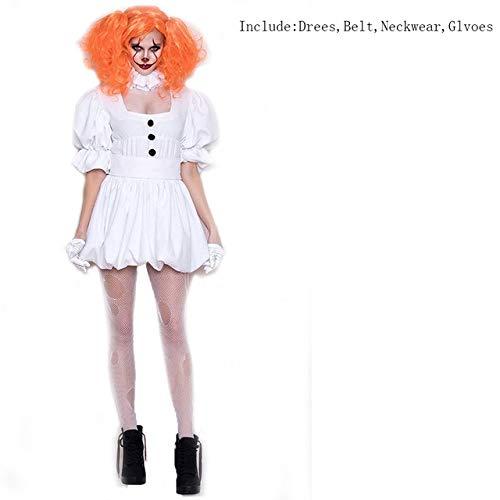 AHJSN Weiße Stephen King es Cosplay Kostüm Erwachsene Pennywise Kostüm Frauen Sexy Clown Kostüm für Halloween Outfit Anzug XL nur Tuch