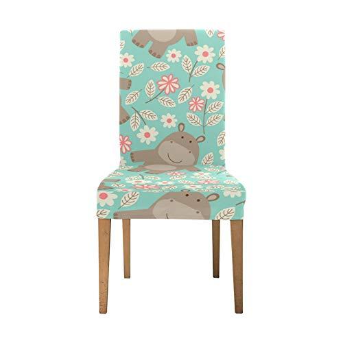 Sitz Stuhlbezüge für Esszimmer Aquatic Creature Cute Animal Hippo Stretch Stuhlbezug Soft Stretch Stuhlbezug Waschbare abnehmbare Stuhlbezüge Set für Zuhause