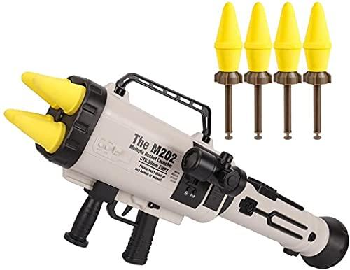 FREEHM Lanzador de misiles cuádruple para niños M202/pistola de Balas Suave, Lanzador de Cohetes de Cuatro barriles, 0 daños, Juguete de simulación de Lucha al Aire Libre para niños