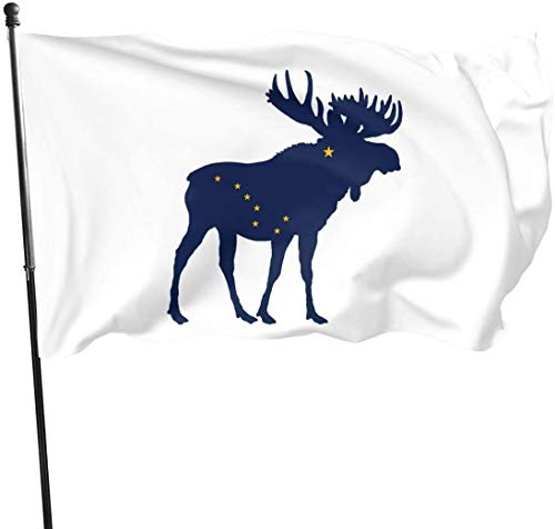Viplili Flagge/Fahne, Alaska State Moose Flag Home Garden Yard Flags 3 X 5 Feet Pennants Indoor Outdoor Fall Flags Wall Banners Decoration