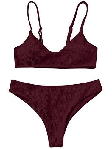 ZAFUL Damen Bikini Set Zweiteilige Badeanzug High Cut Bralette Sexy Swimsuit Sommer (Weinrot, M (EU 38))