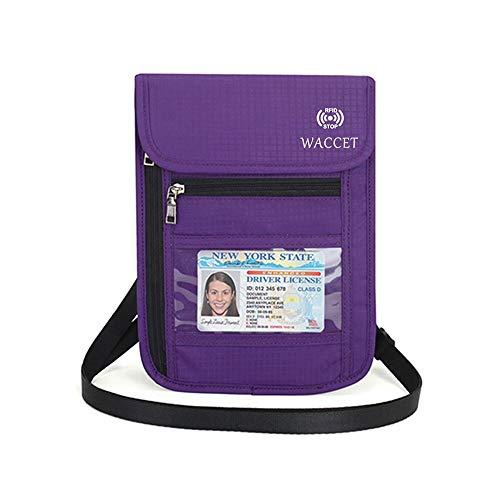 WACCET Portadocumentos de Cuello Protección RFID Portadocumentos de Viaje Unisex con Bolsillos de Cremallera, Colgante Cartera de Viaje para Documentos Tarjetas de Crédito Monedas (Morado)