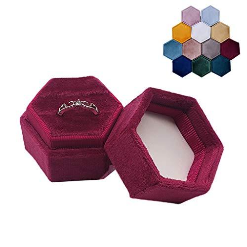 KJ-KUIJHFF Caja portadora de anillos de terciopelo hexagonal – Soporte de exhibición de doble anillo vintage con tapa desmontable para propuesta, compromiso, boda, ceremonia (azul gris)
