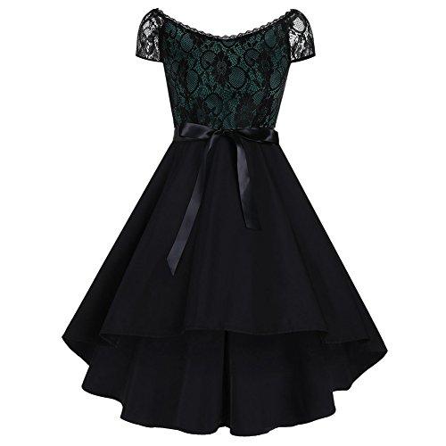 iShine Vestido de mujer, largo hasta la rodilla, escote en V, vestido con encaje, falda plisada, vestido de fiesta, vestido de cóctel (XL-5XL) Verde profundo. XXL