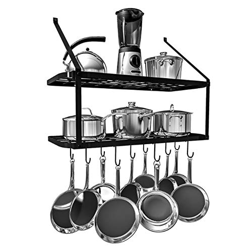 30 Inch Kitchen Pot Rack square grid wall mount pot rack Mounted Hanging Rack for Kitchen Storage and Organization Matte Black 2-Tier Wall Shelf for Pots and Pans with 12 Hooks black