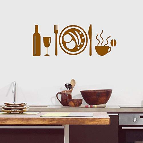 Yilooom Vinilo adhesivo para pared, diseño de taza de vajilla, para cocina, decoración del hogar, decoración de pared, 22 pulgadas de ancho
