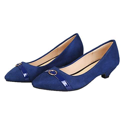 MISSUIT Damen Kitten Heels Pumps Spitz Kitten Absatz 3cm Slip on Schuhe(Blau,46)