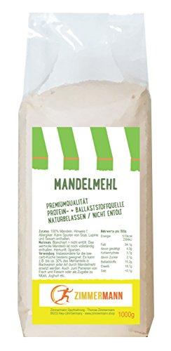Mandelmehl 1000g - naturbelassen - nicht entölt - Hoher Proteingehalt - Hoher Ballaststoffgehalt - glutenfrei - von Zimmermann Sportnahrung