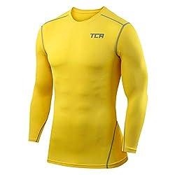 TCA Pro Performance Herren/Jungen Funktionsshirt/Kompressionsshirt mit Langen Ärmeln - Gelb, L