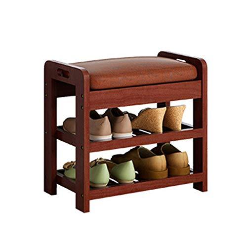 MAATCHH Mesa de Trabajo Banco de Zapatos de Estante doméstico con cojín zapatería de Zapatos de Almacenamiento de Zapatos Sala de Estar del Pasillo de Entrada (Color : Brown, Size : 48x29x45cm)
