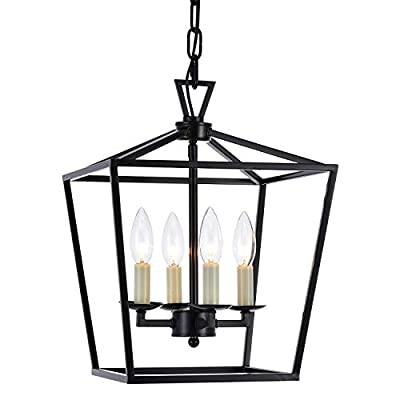 Lantern Pendant Lighting Fixture, A1A9 Iron Cage Frame Chandelier Industrial LED Ceiling Light for Foyer, Farmhouse, Dining Room, Entryway, Hallway, Stairway D12'' H16'' Chain 45'' (Black)