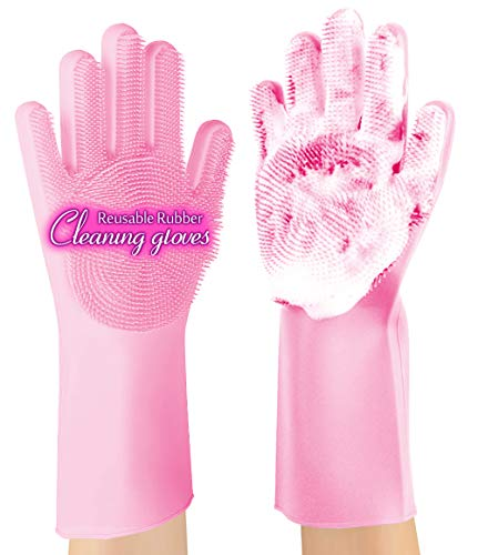 ANZOEE Reusable Silicone Dishwashing Gloves, Pair of Rubber Scrubbing Gloves for Dishes