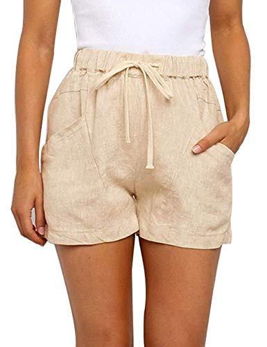 YIBOCK Women Casual Elastic Waist Shorts Summer Linen Drawstring Beach Shorts with Pockets