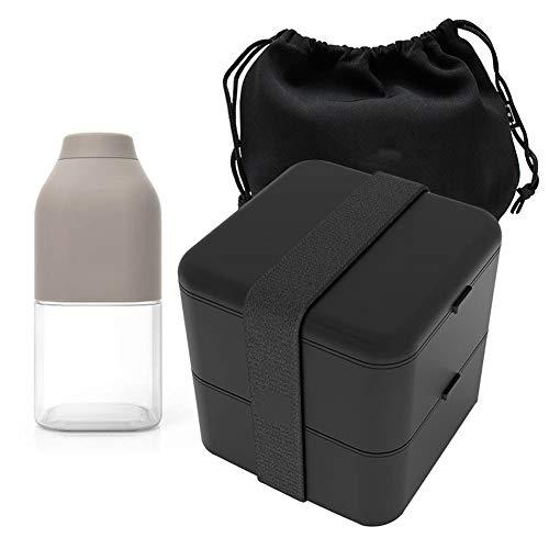 JKLJKL 1.7L Adulti Studenti A più Strati di Compartimento Ermetiche Bento Lunch Box Portatile con Il Sacchetto, Bicchiere, Forno A Microonde,Nero