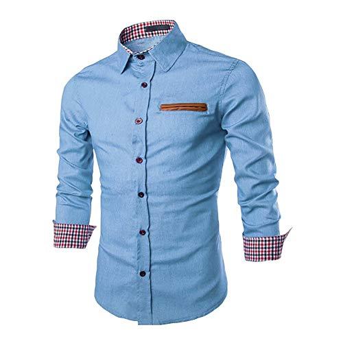 Heren vrijetijdshemd shirt met lange mouwen herfst tops chic outwear mode revers slim fit office blouse jeanshemd blauw