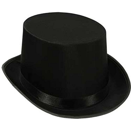 Black Top Hat Satin Costume Magician Fancy Style Party Accessory