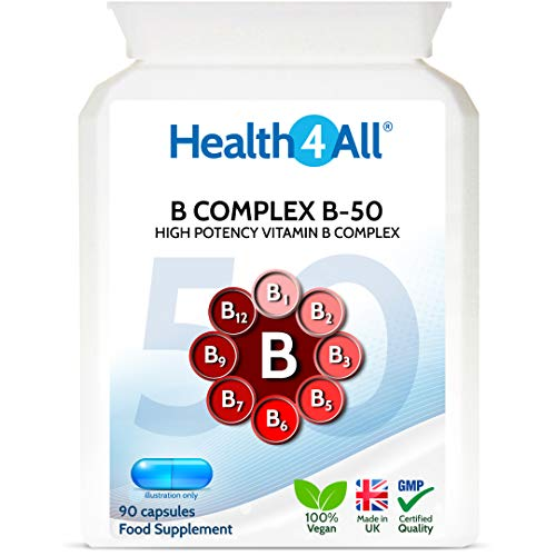 Vitamin B Complex B-50 90 Capsules (V) High Potency Vegan B-Complex with PABA. Made by Health4All