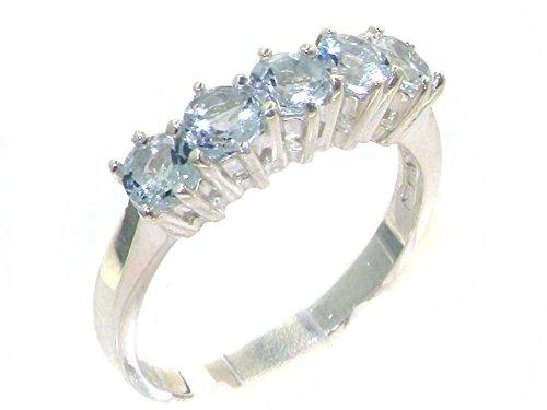 Luxus Damen Ring Solide 9 Karat (375) Weißgold mit Aquamarin - Größe 52 (16.6) - Verfügbare Größen : 47 bis 68