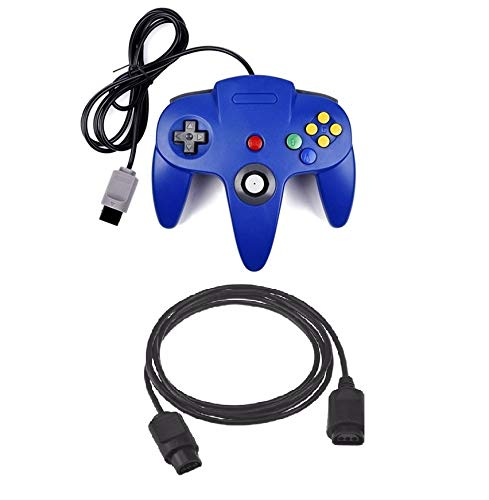 DARLINGTON & Sohns Blauer Controller für Nintendo 64 N64 Joystick Blau Gamepad Joypad + Verlängerung Extansion Verlängerungskabel Gamepad