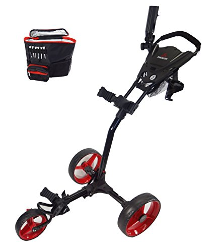 Paragon 3-Wheelie Folding 3 Wheel Push - Pull Cart/Free Cooler Bag (Red/Black)