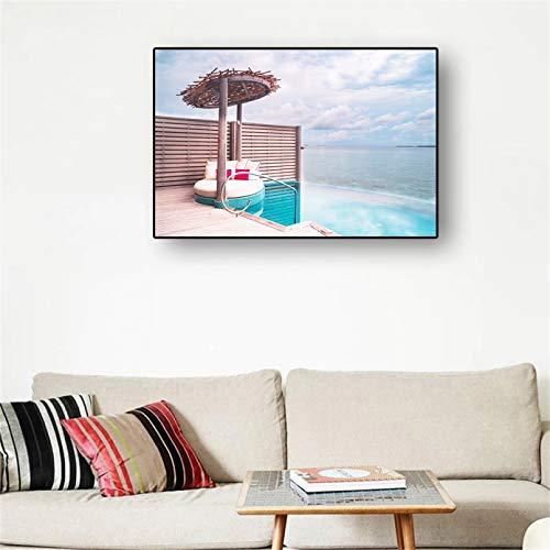 cuadros decoracion salon Cartel Hotel vacaciones al aire libre junto al mar moderno imagen pared impresa sala estar dormitorio decoración del hogar regalo cumpleaños dia del padre regalos 20x28inch