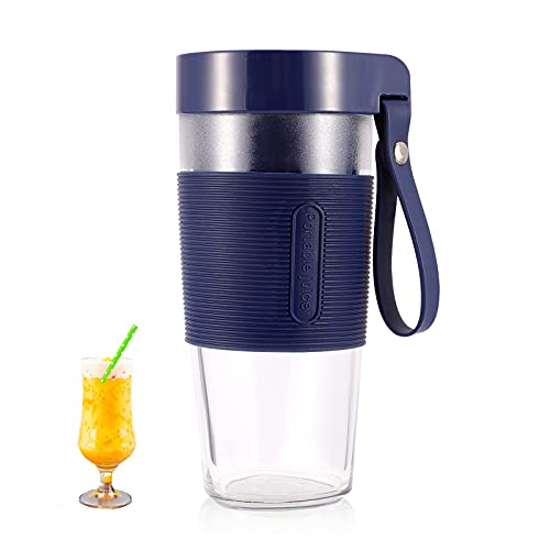 EASYXQ Portable Blender, One-handed Personal Size Blender for Smoothies Shakes on the go, 12OZ 350ml Mini Small Blender Rechargeable, Premium Blender Juicer Cup for Kitchen, Sports, Travel (Blue)