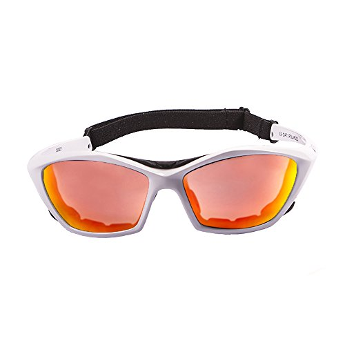 Ocean Sunglasses Lake Garda - Gafas de Sol polarizadas - Montura : Blanco Brillante - Lentes : Amarillo Espejo (13001.3)