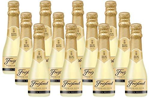 Carta Nevada Cava Semi Seco 0,20 l (12 x 0,2 l) l Kleinflasche l Halbtrocken l Cocktails l Milder Sektgenuss aus klassischen Rebsorten