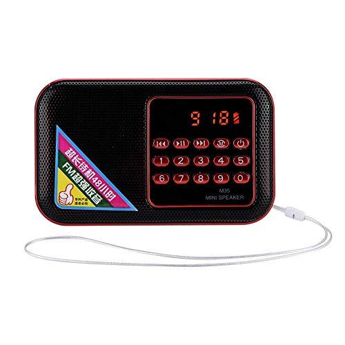 ASHATA Mini-luidsprekerradio Draagbare FM-radio, 87,5-108 MHz FM M35 Ruisonderdrukking FM-radio USB/TF/AUX Music Voice MP3-speler Radio met groot digitaal scherm voor ouderen, rood