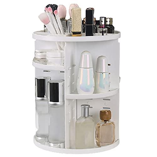 Organisateur De Maquillage, Rangement Maquillage Rotatif 360° Rangement Maquillage CosméTique Et Bijoux, Stockage Bote CosméTique Multifonctionnel,White a
