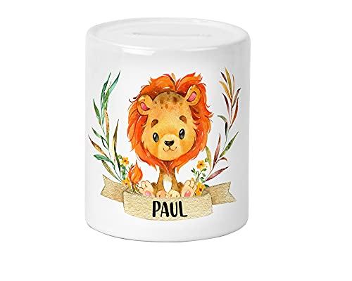 Wildkatzen Löwe Kinder-Spardose für Mädchen und Junge mit Namen personalisiert zur Einschulung Taufe Geburtstag Geburt Sparschwein Geldgeschenk