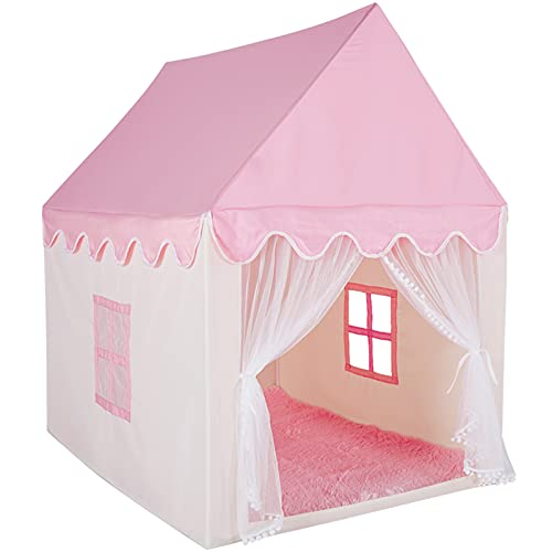 LTKX Kids Play Tent for Girls Princess Tent Pink Castle Playhouse for Toddlers Indoor and Outdoor Girls Tent